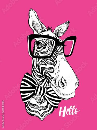 Obraz na płótnie Portret zebry na różowym tle