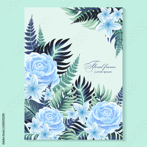 Vector Vertical Banner With Tropical Leaves And Flowers On