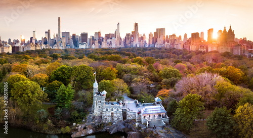 Canvastavla New York panorama from Central park, aerial view