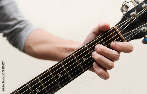 Guitar chords,Selective focus,Guitarist,The musicians are catching the guitar ch Canvas Print