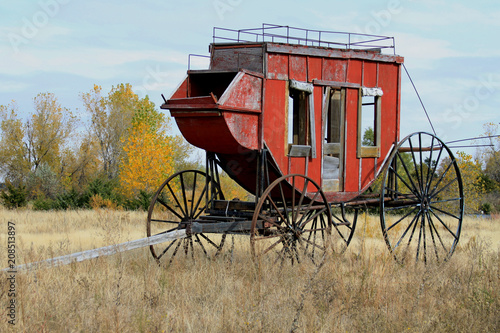 Stage Coach sits in a field in the fall, along side I-80 at Kearney, Nebraska Tablou Canvas