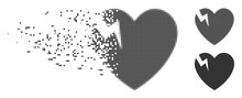 Dissolved Heart Crack Dotted Icon With Disintegration Effect. Halftone Pixelated And Undamaged Solid Grey Versions. Dots Have Rectangle Shape. Pieces Are Combined Into Disappearing Heart Crack Form.