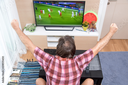 Back view of excitement man with gesturing hands up how watching soccer in television at home. Rear view of man watching sport in TV. Football fan celebrates goal.