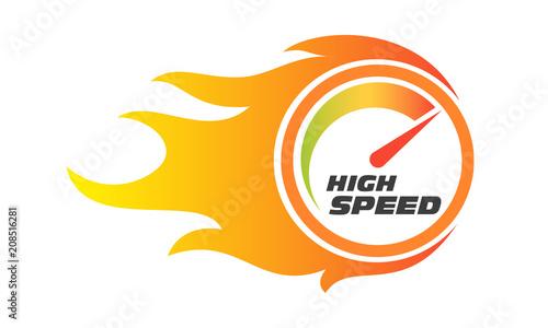 Fotomural High speed internet performance gauge flame