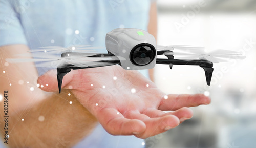 Papiers peints Montagne Businessman using modern drone 3D rendering