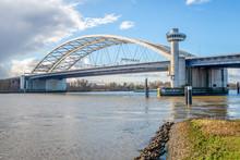 Van Brienenoord Bridge Over The Nieuwe Maas River In The Dutch City Of Rotterdam