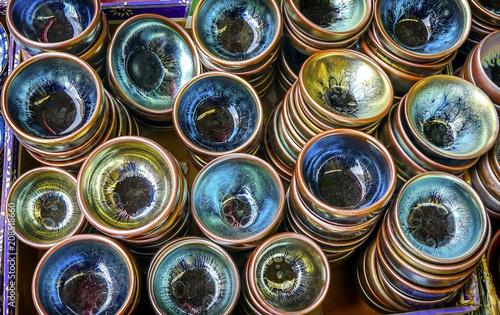 Fotografering  OLd Ceramic Glass Plates  Panjuan Flea Market  Beijing China