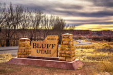 Welcome Sign To Bluff In Utah