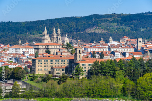 Photo View of Old Town from Gaiás in Santiago de Compostela, Spain