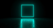 Blue Empty Rectangle Neon Ligh...