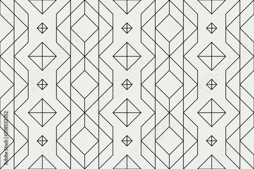 Foto auf AluDibond Boho-Stil Seamless geometric pattern, straight line pattern, geo background, hatch graphic texture, abstract ornament, retro stylish fabric, textile, design