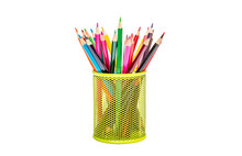 Colour Pencils In Metal Pencil Box. Isolated On White.