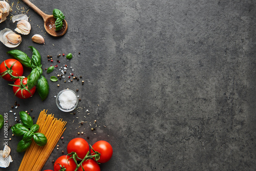 Food background for tasty Italian dishes with tomato Fototapet