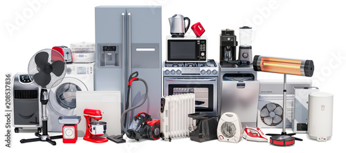 Fotografía  Set of kitchen and household appliances. 3D rendering