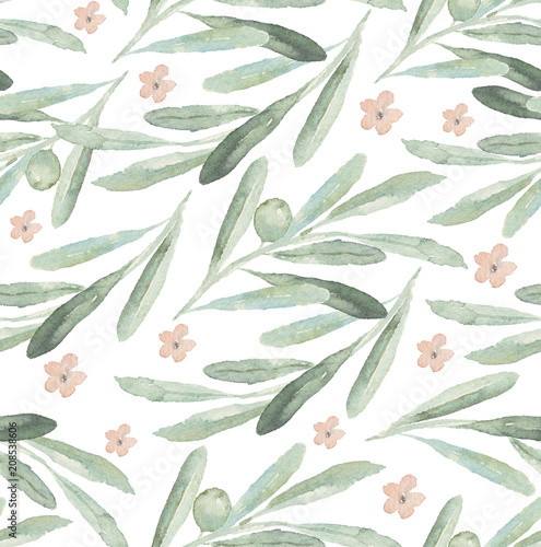Seamless watercolor floral pattern with olives, flowers and leaves on white background