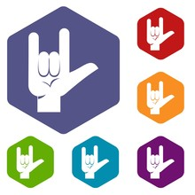 Rock Gesture Icons Set Hexagon Isolated Vector Illustration