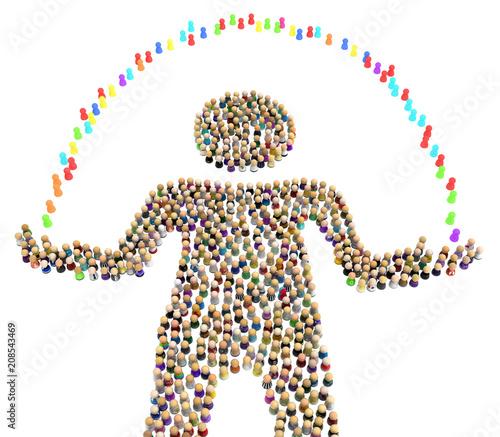 Valokuva Cartoon Crowd Figure, Juggling