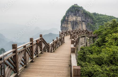 The Cliff Hanging Walkway at Tianmen Mountain, The Heaven's Gate at Zhangjiagie, Hunan Province, China, Asia