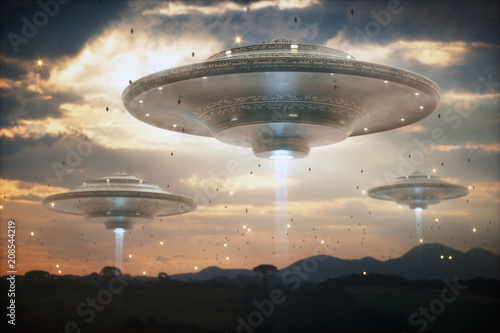 Poster de jardin UFO Extraterrestrial UFO spacecraft. Invasion of alien spaceships. Sky filled with mother ships and small spacecraft.