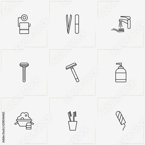 Valokuva  Hygiene line icon set with suds, nail file and razor