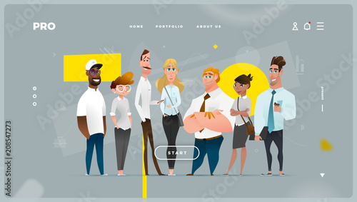 Fotografia  Main Abstract Web Page with Cartoon Business Characters