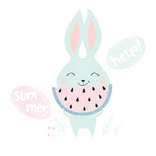Cute Bunny With Watermelon