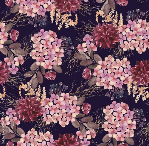 Αφίσα  Seamless watercolor floral pattern with flower composition on black background, perfect for wrappers, wallpapers, postcards, greeting cards, wedding invitations, romantic events, etc