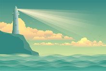 Seascape Vector Illustration. Lighthouse