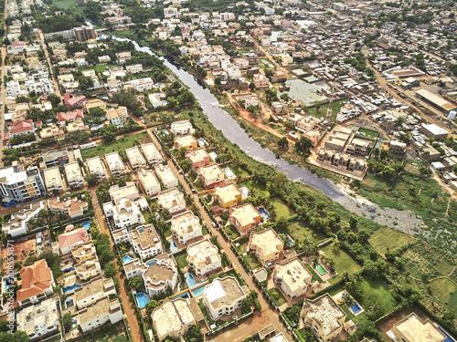 Fototapeta Aerial Drone view of niarela Quizambougou Niger Bamako Mali obraz na płótnie
