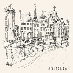 Amsterdam, Holland, Netherlands, Europe. Travel vintage hand drawn postcard