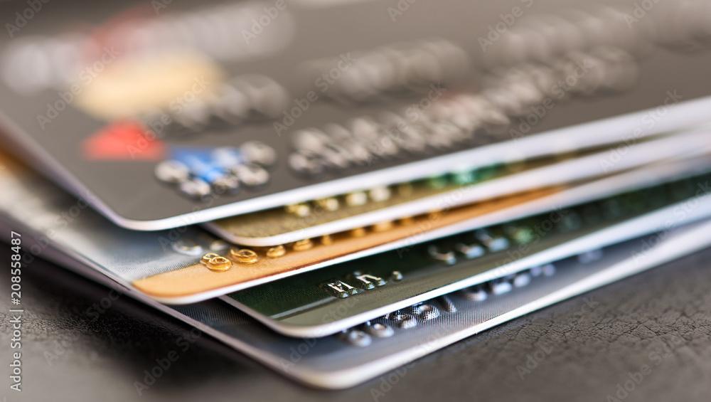 Fototapeta credit card pile