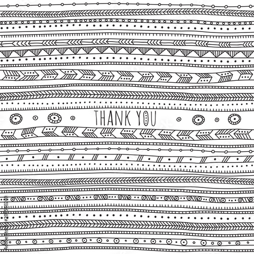 Deurstickers Boho Stijl Thank you card in ethnic boho ornate style.