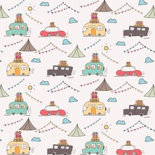 Camping Car Vector Pattern Background.