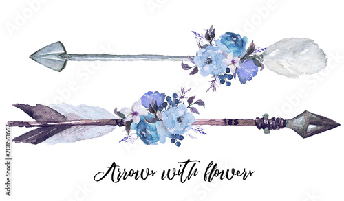 Valokuva  Watercolor ethnic boho set of arrows, feathers and flowers (morning glory, bluebird, lilac, rose, summer blue), native american tribe decoration element, tribal navajo isolated bohemian illustration