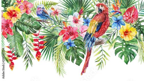 akwarela-tropikalnych-kwiatow-ilustracji-zielone-liscie-kwiaty-i-papuga-granicy-do-slubu-stacjonarne-pozdrowienia-tapety-moda-tla