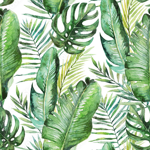 Foto-Vinylboden - Green tropical palm & fern leaves on white background. Watercolor hand painted seamless pattern. Tropical illustration. Jungle foliage. (von Veris Studio)