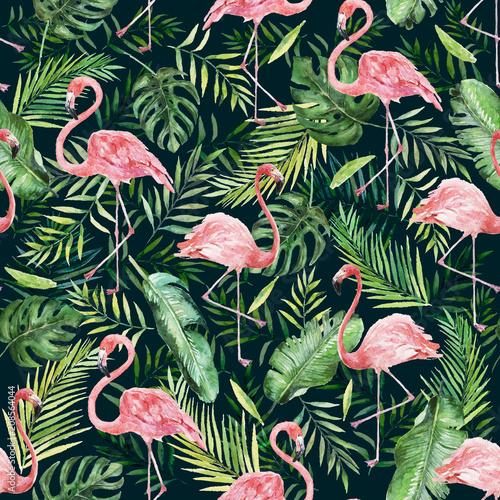 zielone-liscie-palmowe-i-flaming-na-czarnym-tle-akwarela-recznie-malowane-wzor-tropikalna-ilustracja-liscie-dzungli