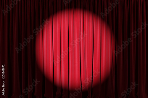 Background image of red velvet stage curtain with spotlight Canvas Print