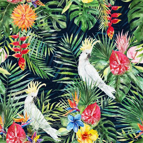 zielone-liscie-palmowe-bialy-ptak-kakadu-kolorowe-kwiaty-na-czarnym-tle-akwarela-recznie-malowany-wzor-tropikalna-ilustracja-liscie-dzungli