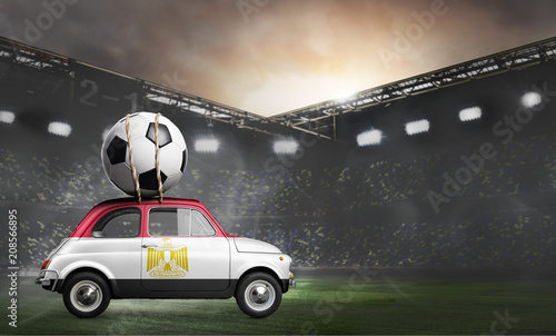 Egypt flag on car delivering soccer or football ball at stadium - 208566895