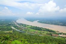 Mekong River View From Wat Pha Tak Sue Temple , Nong Khai, Thailand.