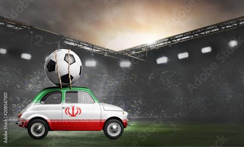 Iran flag on car delivering soccer or football ball at stadium - 208567001