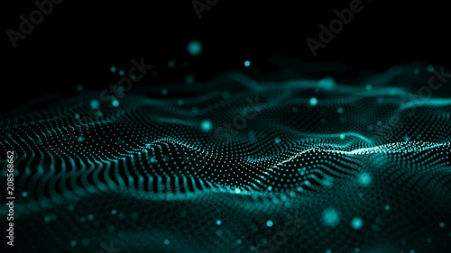 Tuinposter Abstract wave Data technology illustration. Abstract futuristic background. Wave with connecting dots and lines on dark background. Wave of particles.