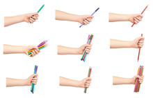 Set Of Different Kid Hand Hold Color Felt Pens And Pencils With Hand, Isolated On White Background