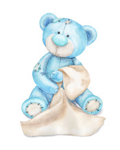 Blue Teddy Bear With A Towel. Watercolor Children's Illustration Can Be Used For Baby Shower Card, Birthday Card Or For Newborn Poster.