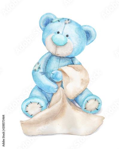 Blue teddy bear with a towe...