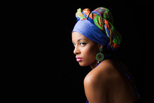 African Black Young Woman Beauty Portrait With Colorful Turban Headscarf Studio Shot