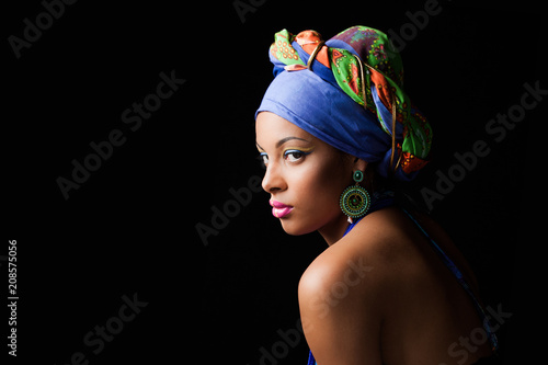 African black young woman beauty portrait with colorful turban headscarf studio Wallpaper Mural