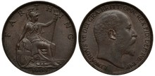 United Kingdom British Coin 1 One Farthing 1903, Seated Britannia With Oval Shield And Trident, King Edward VII Right,