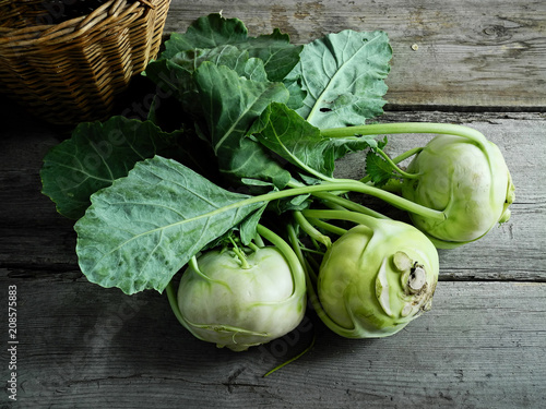 kohlrabi on a wooden table